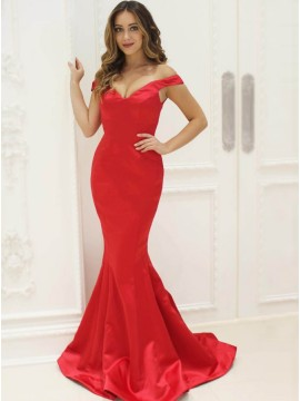 Mermaid Off-the-Shoulder Sleeveless Sweep Train Red Prom Dress