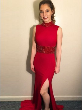 Mermaid High Neck Open Back Sweep Train Red Prom Dress with Beading Split