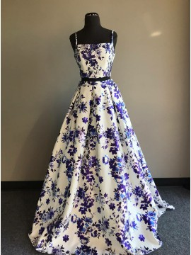 Two Piece Spaghetti Straps Floor-Length White Printed Prom Dress