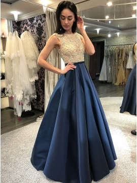 A-Line Crew Floor-Length Navy Blue Prom Dress with Beading