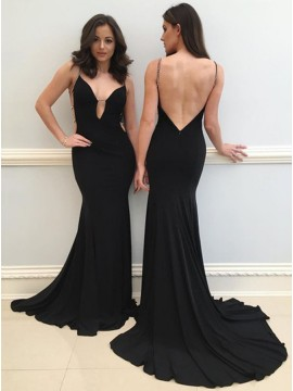 Mermaid Spaghetti Straps Backless Black Prom Dress with Beading