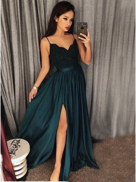 A-Line Spaghetti Straps Dark Green Prom Dress with Appliques Split