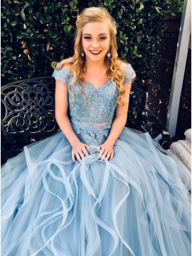 Two Piece Off-the-Shoulder Light Blue Prom Dress with Appliques