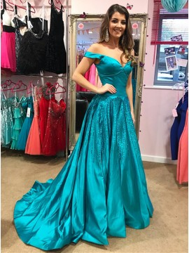 A-Line Off-the-Shoulder Sweep Train Blue Prom Dress with Beading
