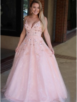 A-Line Spaghetti Straps Sweep Train Pink Prom Dress with Appliques Beading