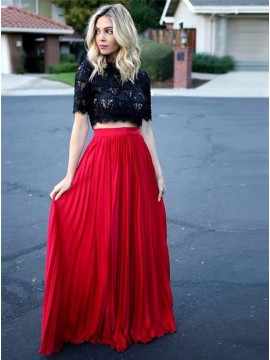 Two Piece Jewel Half Sleeves Floor-Length Red Prom Dress with Lace