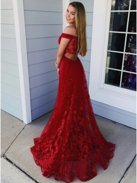 A-Line Off-the-Shoulder Sweep Train Red Prom Dress with Appliques