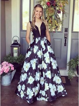 A-Line V-Neck Floor-Length Navy Blue Printed Prom Dress with Pockets