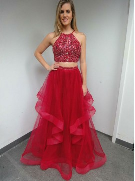 Two Piece Crew Floor-Length Red Prom Dress with Beading