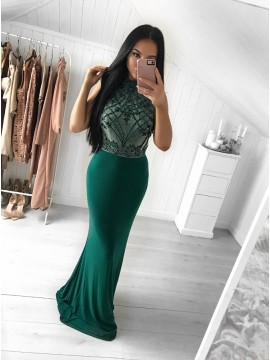 Mermaid Jewel Sweep Train Dark Green Prom Dress with Beading