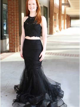 Two Piece Jewel Sweep Train Black Prom Dress with Lace Beading