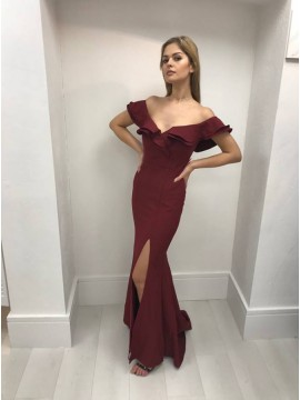 Mermaid Off-the-Shoulder Burgundy Prom Dress with Split Ruffles