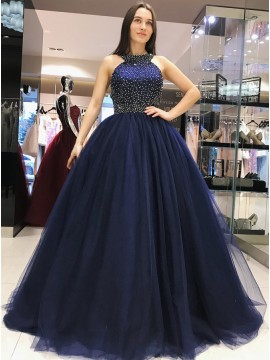 Ball Gown Crew Open Back Navy Blue Prom Dress with Beading