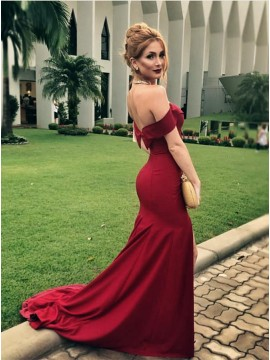Mermaid Off-the-Shoulder Sweep Train Burgundy Prom Dress with Ruffles