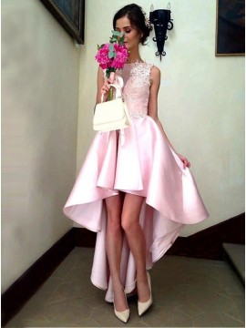 A-Line Jewel High Low Pink Satin Prom Dress with Appliques
