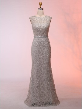 Mermaid Round Neck Sweep Train Prom Dress with Sequins Sashes