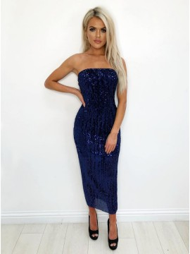 Mermaid Strapless Ankle-Length Navy Blue Sequined Cocktail Dress