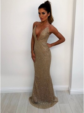 Spaghetti Straps Backless Champagne Prom Dress Sequin Mermaid Party Dress