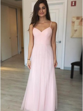 A-Line Spaghetti Straps Floor-Length Pink Chiffon Prom Dress