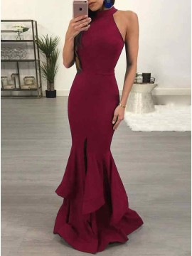 Mermaid Jewel Floor-Length Burgundy Prom Dress with Ruffles