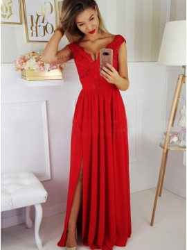A-Line V-Neck Cap Sleeves Floor-Length Red Prom Dress with Appliques