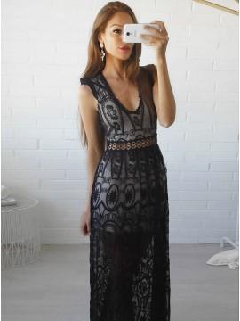 Sheath V-Neck Open Back Floor-Length Navy Blue Lace Prom Dress