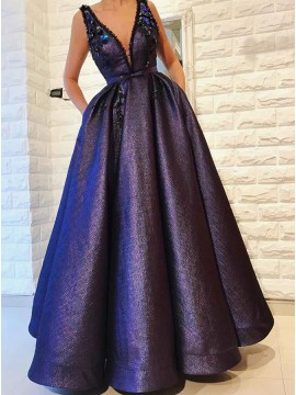 A-Line V-Neck Floor-Length Purple Prom Dress with Pockets Beading