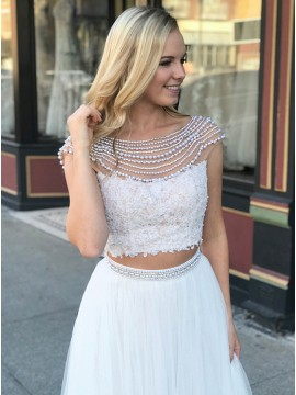 Two Piece Bateau Cap Sleeves Backless White Prom Dress with Lace Pearls