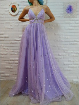 A-Line Spaghetti Straps Floor-Length Lavender Prom Dress with Sequins