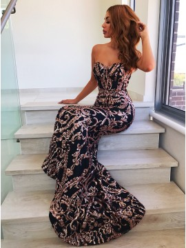 Mermaid Sweetheart Sweep Train Black Prom Dress with Sequins