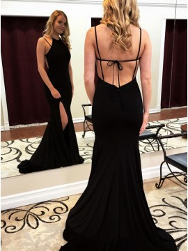 Mermaid Crew Backless Sweep Train Black Prom Dress with Split