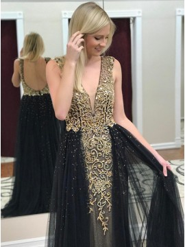 Mermaid V-Neck Backless Sweep Train Black Prom Dress with Beading