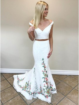 Two Piece Off-the-Shoulder Sweep Train White Prom Dress with Appliques