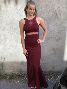 Mermaid Crew Floor-Length Burgundy Prom Dress with Appliques