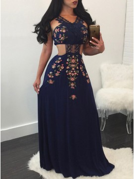Sheath V-Neck Floor-Length Navy Blue Prom Dress with Appliques
