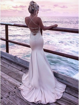 Spaghetti Strap Tight Long Blush Mermaid Prom Dress with Appliques