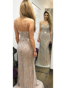 Mermaid Spaghetti Straps Floor-Length Champagne Prom Dress with Beading