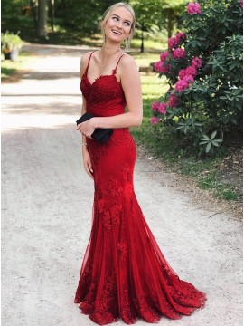 Mermaid Formal Gown Backless Long Red Prom Dress with Appliques