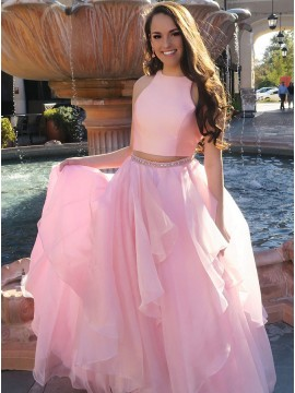 Two Piece Jewel Floor-Length Pink Prom Dress with Beading
