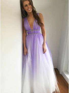 A-Line Deep V-Neck Backless Ombre Long Prom Dress with Beading