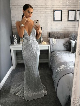Mermaid Deep V-Neck Backless Sweep Train Silver Sequined Prom Dress