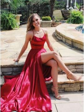 A-Line Slit Leg Criss-Cross Straps Long Red Satin Prom Dress