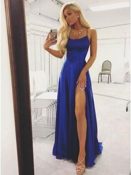 A-Line Slit Leg Criss-Cross Straps Long Royal Blue Satin Prom Dress