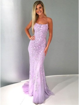 Mermaid Spaghetti Straps Backless Sweep Train Lilac Prom Dress with Appliques