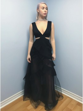 A-Line V-Neck Floor-Length Black Cut Out Prom Dress with Ruffles