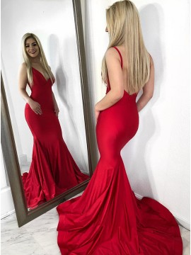 Mermaid V-Neck Backless Sweep Train Red Prom Dress