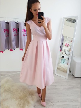 A-Line V-Neck Cap Sleeves Ankle-Length Pink Prom Dress with Pleats