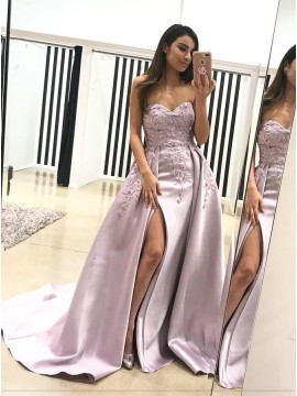A-Line Sweetheart Sweep Train Lilac Detachable Prom Dress with Appliques Split