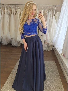 Two Piece Round Neck Floor-Length Navy Blue Prom Dress with Appliques Beading