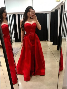 A-Line Sweetheart Floor-Length Red Detachable Prom Dress with Ruched